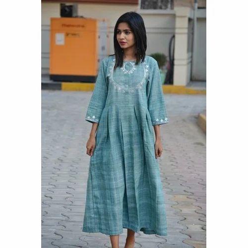 74d8c355bc53 Khadi Casual Traditional Gotta Patti Turquoise Maxi Dress, Rs 2300 ...