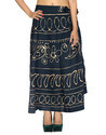 Women Gold Printed Circle Wrap Around Cotton Skirt