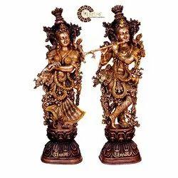 Brass Antique Gold Finish Radha Krishna Sculpture
