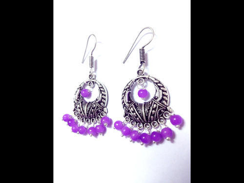 German Silver Earrings With Purple Stone