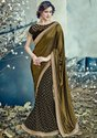 Black and Mehendi Green Designer Lehenga Saree