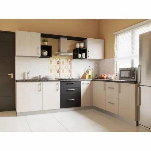 L Shape Wodden Modular Kitchen, Warranty: 5 Years
