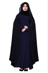 Women's Nida And Chiffon Abaya Burka with Pearl Work and Hijab Scarf
