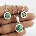 Turquoise 925 Sterling Silver Pendant Set