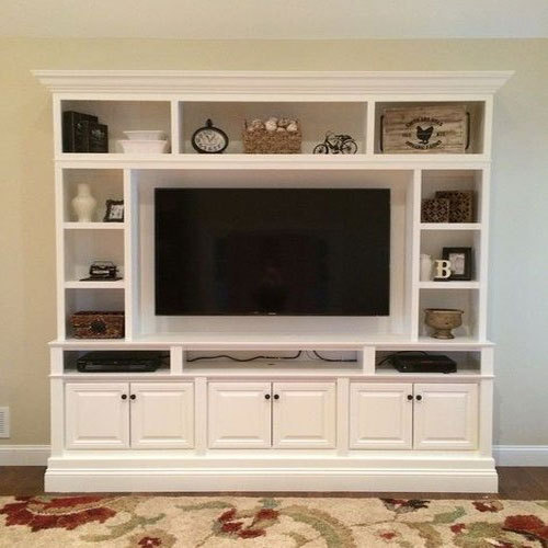 White Tv Showcase Rs 950 Square Feet Economic Design Concept