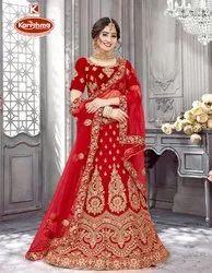 Fancy Fabric Heavy Embroidery & Diamond Work 3 PCS  Lehenga with Blouse & Dupatta - Jagnoori