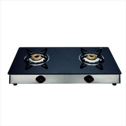 Stainless Steel Black LPG Stove 2 Burner Glass Top for Kitchen
