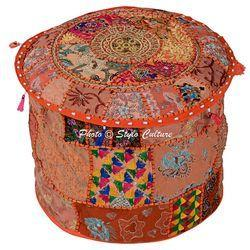 Indian Sari Patchwork Ottoman Pouf Cover Ottoman Covers