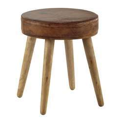 Stool With Leather Seat And Mango Wood Base,leather Pouf
