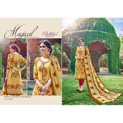 Yellow Printed Semi Stitched Straight Suit, Length : 42 Inch