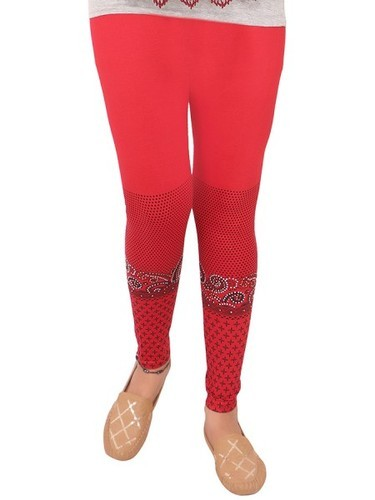 Ankle Length Printed with Diamond Red Cotton Leggings