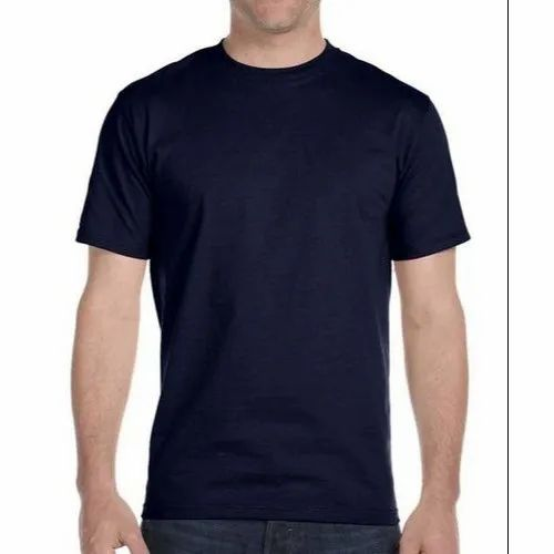 Polyester Men's Navy Blue Round Neck Dri Fit T-Shirt