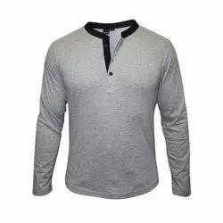 Black Plain Men's Full Sleeves T Shirt