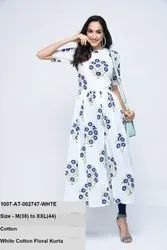White Cotton Floral Kurta