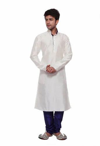 a3cbdee0a5 White Silk LARWA Designer Kurta & Churidhar Set_White, Rs 695 /pack ...