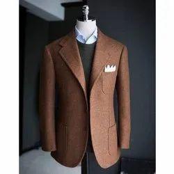 Terry Wool Party Wear Mens Plain Brown Blazer