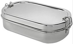 Heritage Silver Steel Oval Plain Lunch Box