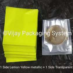 Metallic Lemon Yellow Pet Laminated Pouches