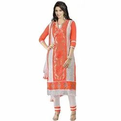 Rajnandini Orange And White Heavy Glass Cotton Embroidered Unstitched With Zari Work Weaved Dupatta