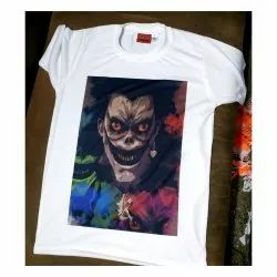 White Printed Poly Cotton Sublimation T Shirt