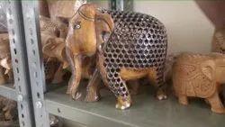 Brown Wooden Handicraft Jali Elephant