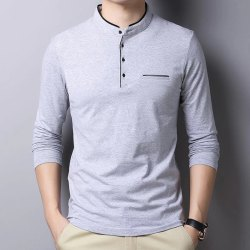 Plain Henley Mens Grey T Shirt, Size: S to XXL