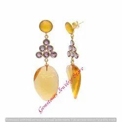 Citrine HYdro Amethyst & Yellow Chalcedony Gemstone Earring