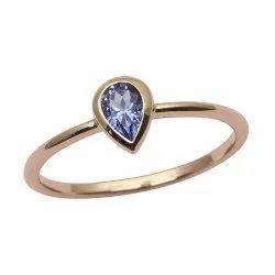 9ct Yellow Gold Pear Tanzanite Gemstone Bezel Set Solitaire Women Love Ring