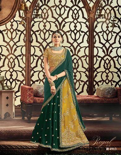 4fc0695878 Amazin Mustard Yellow, Dark Green Raw Silk, Taffeta Silk Embroidered  Wedding Lehenga Choli