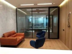 Aluminium Double Glaze Partition With Style Door