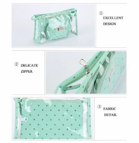 02c6638d02fb Portable Cosmetic Bags Set of 3 Different Sizes Makeup and Toiletry Pouch  Purse Bag for Travel or Da