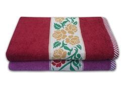 Embroidered Purple & Mehroon Divine Overseas Rose Design Bath Towel, Size: 60 cms X 120 cms