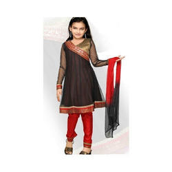 Black,Red Embroidery Kids Churidar Suit