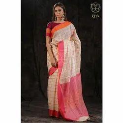 Dyed Yarn Woven Ganga Yamuna Border Beige Linen Saree, 5.5 metres