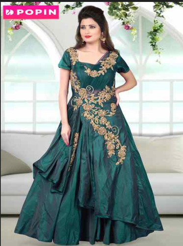 Bottle Green Frill Gown With Gold Work Rental Service