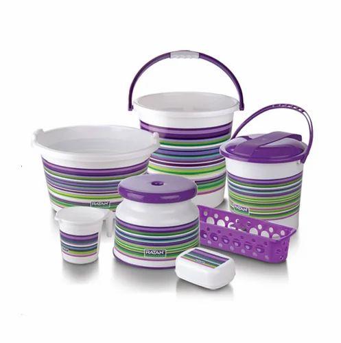 Multicolor Plastic Strip Bucket 7 Pcs Bathroom Set