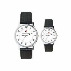 White Black Round Paddle Wrist Watch