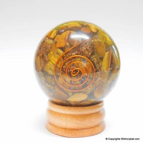 Tiger Eye Orgonite Sphere Emf Protection Healing 60 Mm  Crystal Healing  Reiki Feng Shui Vastu Gems