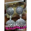Silver Plated Pink Jhumka
