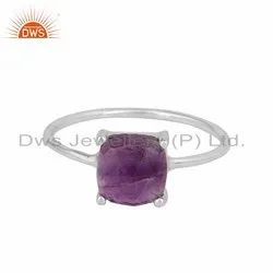 Amethyst Gemstone Sterling Silver 4 Prong Ring Handmade Jewelry