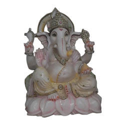 Marble Painted Ganesh Statue