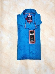 Collar Casual Wear Men Plain Blue Shirt, Size: Medium And Small