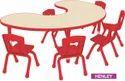 Metal Leg Kids School Bean Moon Shape Wooden Table, Seating Capacity: Six Seater