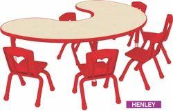 Metal Leg Kids School Bean Moon Shape Wooden Table