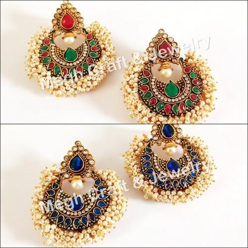 Megh Craft Female Over Sized South Indian Style Stone Beaded One Gram Gold Earring