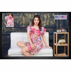 Rayon Printed Ladies Half Sleeve Night Gown