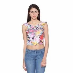 Cotton Sleeveless WS-023 Fancy Printed Crop Top