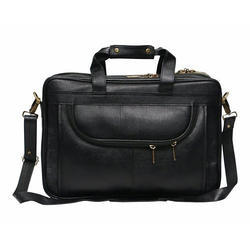 Black Leather Laptop Messenger Bag, Pure Leather: Yes
