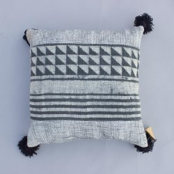 Cotton Mud Cloth Cushion Cover Mud Print Dabu Bagru Grey Boho Sofa Throw Shams With Woolen Tassels