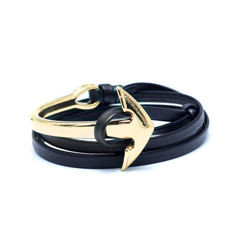 Leather Mens Wrap Anchor Bracelets